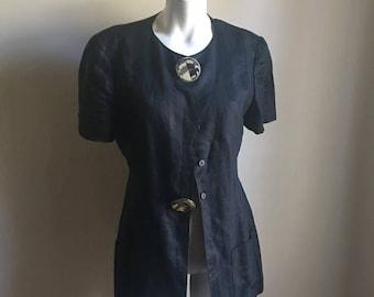 SUMMER SALE Krizia Black Linen Jacket • Retro Designer Avani Garde Jacket