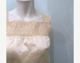 SUMMER SALE vintage. 1910 Victorian Off White Silk Cropped Camisole with Butterfly Detail // Bust 34