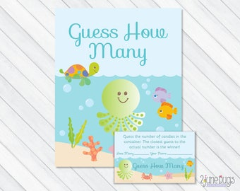 Under the Sea Baby Shower Candy Guessing Game, Blue Guess How Many Candies, M&Ms, Jelly Beans, etc, PRINTABLE INSTANT DOWNLOAD
