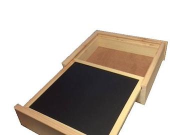 Chalk board and storage box.