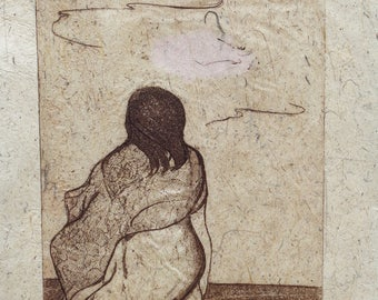 Wave Watcher, Original Fine Art Etching on Handmade Paper