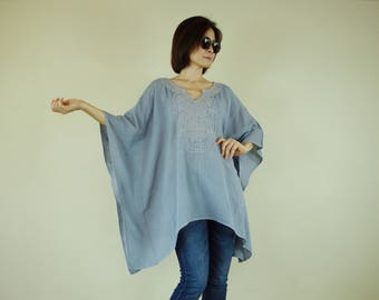 Oversize Blue Gray Color Double Gauze Cotton Dolman Poncho Women Top Caftan Blouse With Pale Pink Hand Embroidered Detail