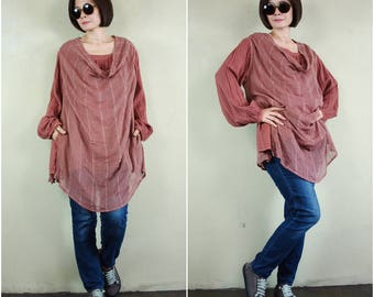 SALE - Long Sleeve Double Layer Dusty Terra Cotta Net Cotton & Double Gauze Cotton Tunic Top Blouse With 2 Inseam Pockets - AT126