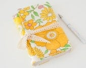 Blank Notebook – Cute Notebook with Vintage Fabric Cover – Gifts for Her Under 30