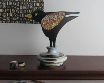 "bookcase art - ""Edgar Allan Crow"" - wood sculpture - salvaged tin"
