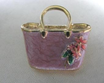 Pink enamel Avon handbag purse brooch