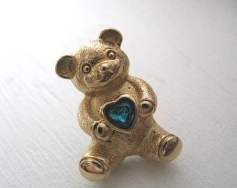 Avon gold tone teddy bear lapel pin brooch with blue green heart