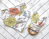 Fall Flowers Baby Gift Set - Bibdana and Teething Ring - Bandana Style Drool Bib - Maple Wood Ring Teether - Mums and Poppies