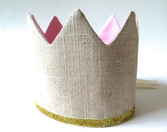 Birthday Crown for Girl - Gold Glitter and Brigh Pink on Linen - Adjustable Party Hat - Dress Up - Queen Little Princess - Pink 1st Birthday
