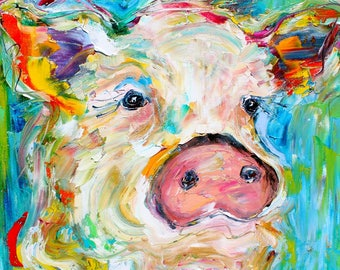 Pig painting original oil abstract palette knife impressionism on canvas fine art by Karen Tarlton