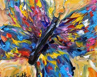 Butterfly painting original oil 6x6 palette knife impressionism on canvas fine art by Karen Tarlton