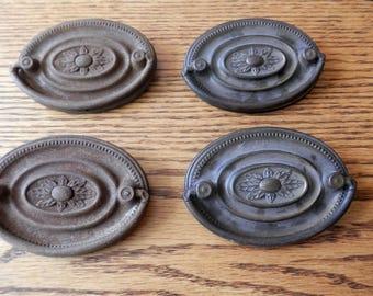 four (4) matching single post handles antique