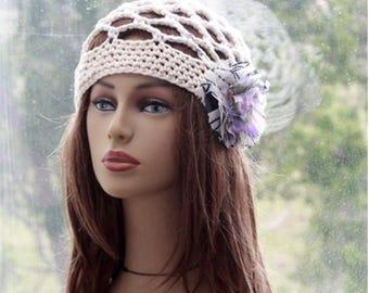 Womens Cotton Hat  Crochet Summer Hat  Flower Hat Juliet Cotton Hat  Lace Beanie Summer Party Festival womens cotton summer hat