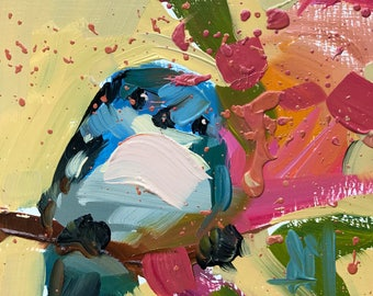 Cerulean Warbler no. 96 Original Bird Oil Painting by Angela Moulton pre-order