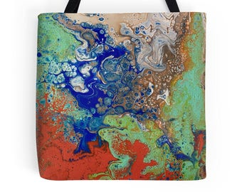 Aggregation, Original Fluid Acrylic Art L, M or S Tote Bag, Printed on Both Sides!
