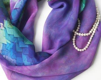 Purple Silk Scarf - Handpainted Silk Scarves - Infinity Scarf - Purple Loop Scarf