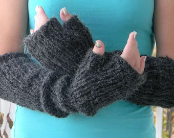 Knit handwarmers Long armwarmers Alpaca blend black  Fingerless gloves Winter mittens. Elbow length. Christmas gift.  Driving gloves