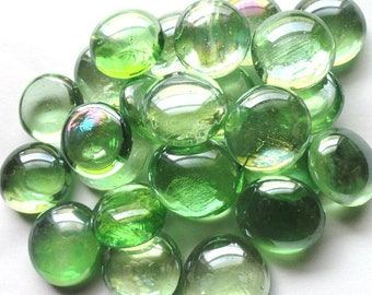 CLEARANCE 25 Light Green Glass GEMS//Vase Marbles//Mosaic//Mosaic Supplies//Crafts
