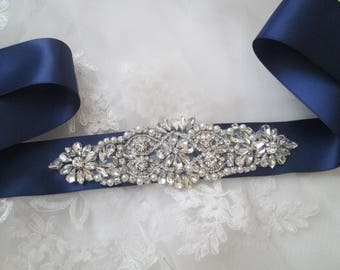 Navy Blue Bridal Sash, Crystal & Pearl Wedding Belt, Pearl- Rhinestone- Diamond Sash, Maternity Sash, Something Blue, Midnight Blue Sash