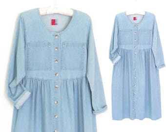 Denim Maxi Dress * Vintage Jean Dress * Oversized 90s Dress * Medium / Large