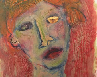 mixed media collage painting on paper original unframed redhead
