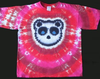Adult Tie Dye Shirt Panda with Maroon, Red, and Fuschia Stripes