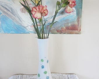 Vintage Milk Glass Vase with Blue and Green Daisies Mod Style Flowers