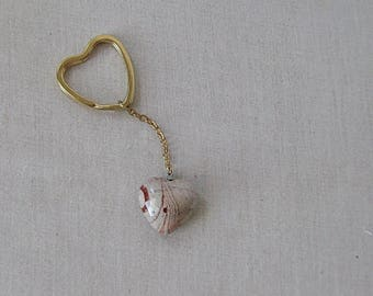 Red Jasper Gemstone Heart Keychain, Red, White and Orange on Gold