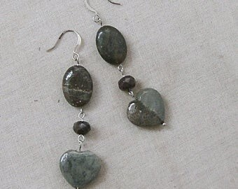 Paint Brush Jasper and Fancy Jasper Heart Earrings with Poppy Jasper on Silver, Dark Gray, Burgundy, Silver