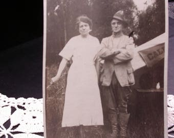 Vintage Photograph Man and Woman, Early 1900's, Sepia Print