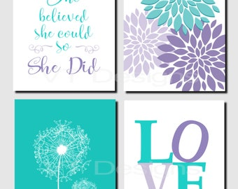 She believed she could so she did, Teal Purple Lavender, Kids Wall Art, Brooklyn Nursery, Girls Room, Dandelions, Set of 4, Prints or Canvas