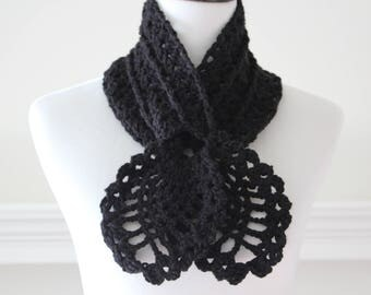 Crocheted Black Scarf, Scarflette