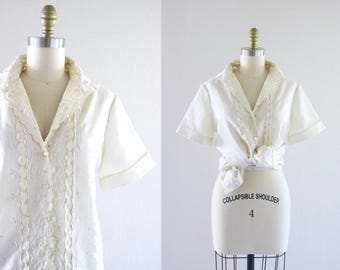 1960's ivory embroidered eyelet blouse