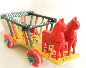 Vintage Folk Art Pull Toy, Handmade, Wooden Cart, Horse and Wagon, Swedish, Dala Horse, Rustic, Primitive Toys, European, Red, Colorful