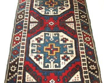 Vintage Hand Woven Turkish Area Rug, Runner, Handmade, Wool, Small Carpet, Prayer, Tribal, Moroccan Style, Rustic, Oriental, Eastern, Boho
