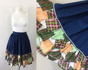 Vintage Circle Skirt Blue Patchwork Square Dance Rockabilly 50s Style