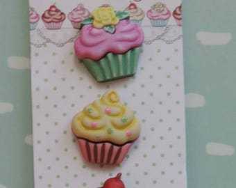 LD SALE Cupcake Buttons, Sweet Delights Collection by Buttons Galore, Carded 3 Buttons, Bright Colors