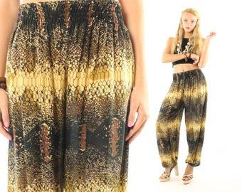 Vintage 80s Harem Pants High Waisted Rayon Trousers Animal Snake Print 1980s X-Small XS