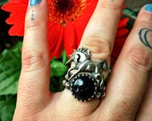 RESERVED for Stacey - The Midnight Unicorn - Sterling Silver Sunicorn Ring - Size 6.5 - Blue Goldstone - Blue Sandstone - Boho - Bohemian