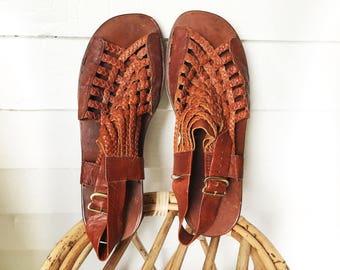vintage unisex sandals, mens sandals size 11, 12 brown leather, woven strap, slingbacks,