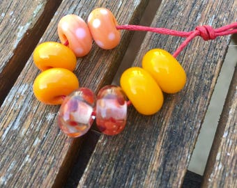 Perfect Pairs Lampwork Glass Beads, Oranges, SRA, UK Seller, UK Lampwork