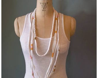 Beachy Necklace,Repurposed Knit Jersey,Tshirt,Beach,Holiday,Jewelry,Christmas,Birthday,GIFT,Woman,Gold,Pink,Turquoise,Grey Heather,BOHEMIAN