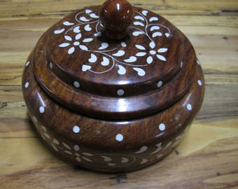 Vintage inlay round wood box compartments bohemian storage