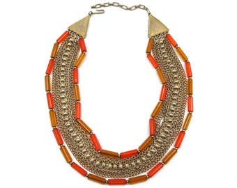 Multi Chain Necklace, Gold Chains, Lucite Beads, Orange Plastic, Mid Century Jewelry, Vintage Necklace