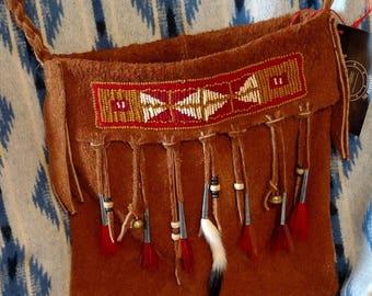 Heavy Acorn Color Moose Hide Beaded Possibles Bag Bucket Bag