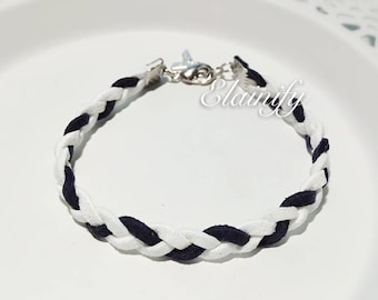 ALS awareness month May White Pale Blue Navy Braided Bracelet