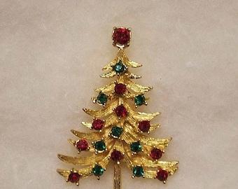 ON SALE Vintage Mylu Christmas Tree Rhinestone Pin, Big Ruby Red Topper Stone