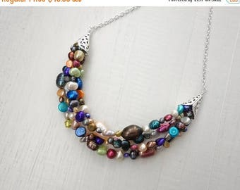 Summer Sale Large bib necklace colorful statement necklace freshwater pearls rainbow