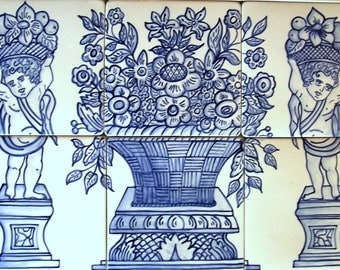 Blue and white, Delft inspired hand painted ceramic tile mural