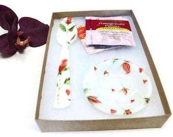Rose Tea Set, Fused Glass, Spoon Rest, Tea Bag Holder, Gift for Tea Lover, Hearts and Roses, Glass Teaspoon, Tea Party Gift, Bridal Shower